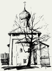 Church and a tree