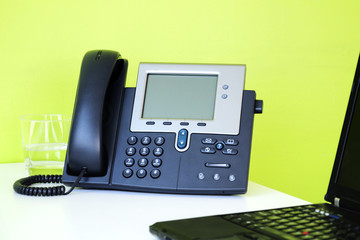 Business Phone and Laptop