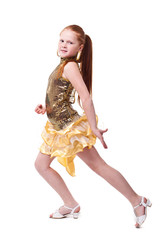 dancing happy little girl, isolated on white