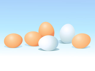 eggs on blue background
