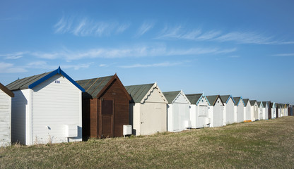 Beach huts at Southend on Sea, Essex, UK.