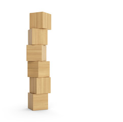 Turm aus Holzklötzen isoliert