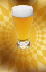 glass of beer over abstract bohemian background