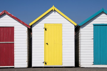 Colorful Beach Huts at Paignton, Devon, UK.