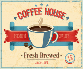 Wall Mural - Vintage Coffee House card. Vector illustration.
