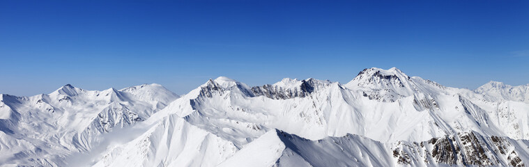Fototapete - Panorama of snowy mountains