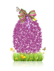 Concept of spring with easter egg made of small ribbons