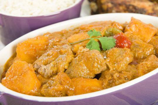 Lamb and sweet potato peanut stew. Caribbean & West African food