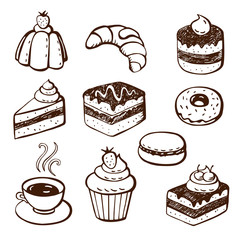 Collection of cake and bakery doodles