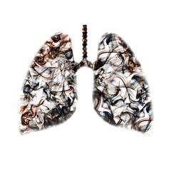Smoking texture inside lungs shape