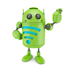 Spoed Foto op Canvas Robots Android with WiFi symbol