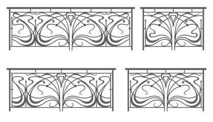 Vector set: wrought iron fence and grilles