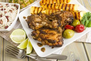 Jerk Chicken - BBQ chicken, grilled pineapple and rice & peas