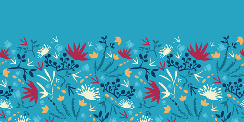 raster painted abstract flowers and plants horizontal seamless