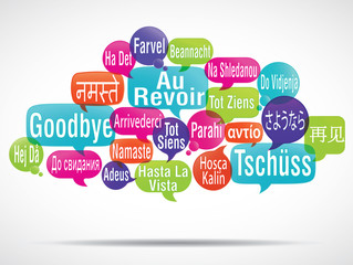 nuage de mots bulles : au revoir