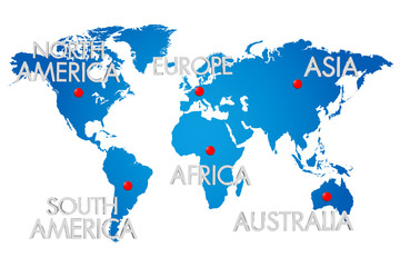Keuken foto achterwand Wereldkaart Three-dimensional map of the world