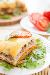Traditional lasagna with vegetables and parmesan