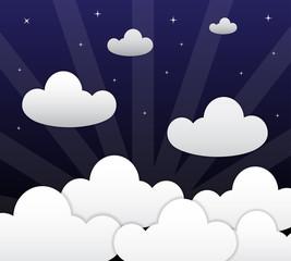 Cloud and dark blue sky vector