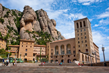 Montserrat Monastery in the mountains near Barcelona, Spain