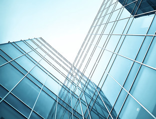 Fotobehang Aan het plafond glass skyscrapers at night