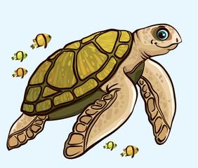 Cartoon funny sea turtle