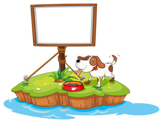 Tuinposter Honden A puppy in an island with an empty board