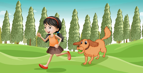 Poster Dogs A girl running with her dog