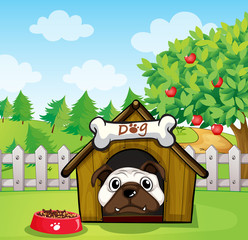 Poster Dogs A dog inside a dog house