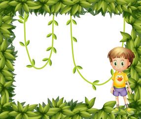 A child on a leafy frame