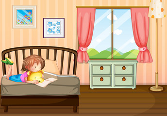 A child studying inside her room