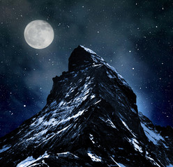 Poster Pleine lune Matterhorn on night sky