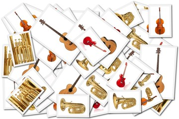 collage with musical instrument images