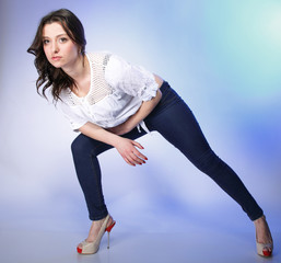 Full body woman in casual clothes relaxed pose