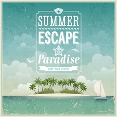 Wall Mural - Vintage seaside view poster. Vector background.