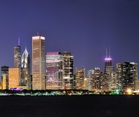 Fototapete - Chicago skyline at dusk