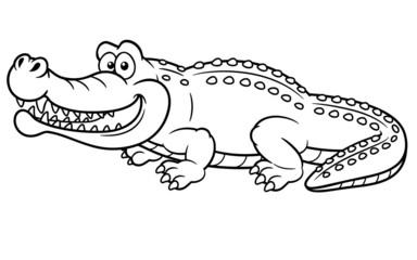 illustration of Cartoon crocodile - Coloring book