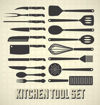 Vector Set: Kitchen Utensils in Vintage Style