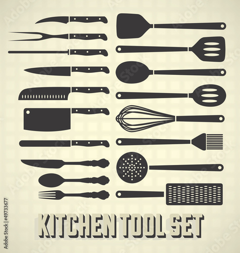 """Vector Set: Kitchen Utensils In Vintage Style"" Immagini E"