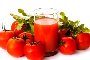 Fototapete - tomatoes and tomato juice