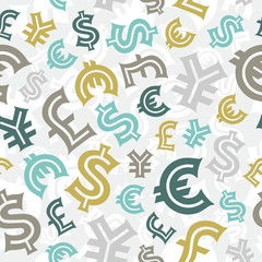 Currency signs. Seamless pattern background.