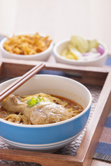 khao soi curry noodle northern thai traditional food.