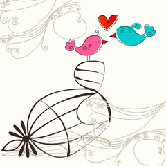 Printed roller blinds Birds in cages Cute birds in love illustration