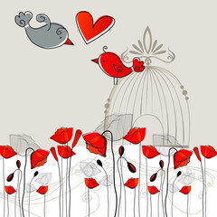 Wall Murals Birds in cages Cute birds in love illustration