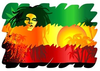 Door stickers Draw Reggae Singer Poster-Cantante Reggae Sfondo Esotico-Vector