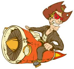 Fotomurales - Cowboy On Turbo Bike