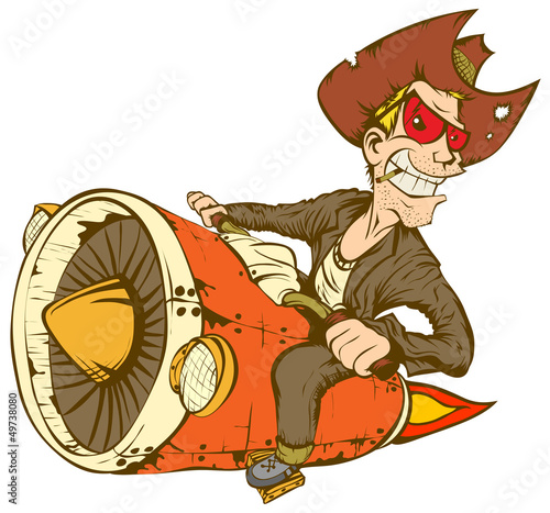 Fototapete Cowboy On Turbo Bike
