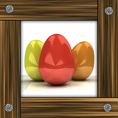 easter card with colorful eggs in grey timbered frame