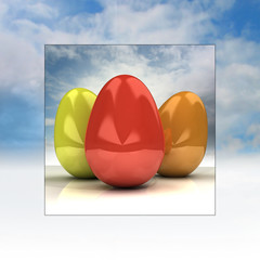 sky easter double squared card with eggs