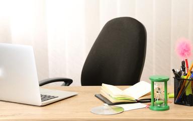 Office desktop in background room