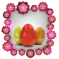 easter card with colorful eggs in isolated blossom frame
